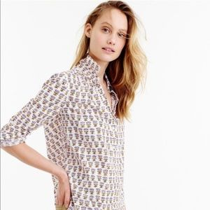J. Crew Gathered Popover Top in Indian Cotton